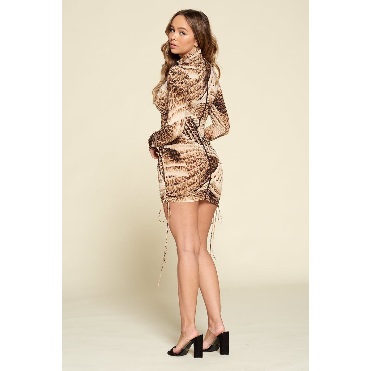 Sand Brown Bodycon Long Sleeve Dress