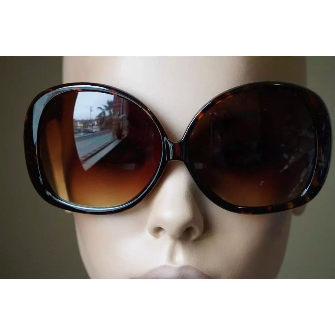 Oversize Round Colored Lens Sunglasses