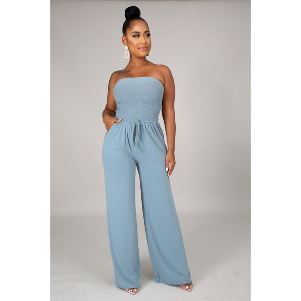 Blue Tube Top Breeze Jumpsuit