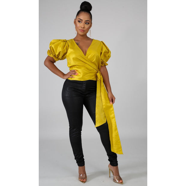 Mustard Chic Wrap Top