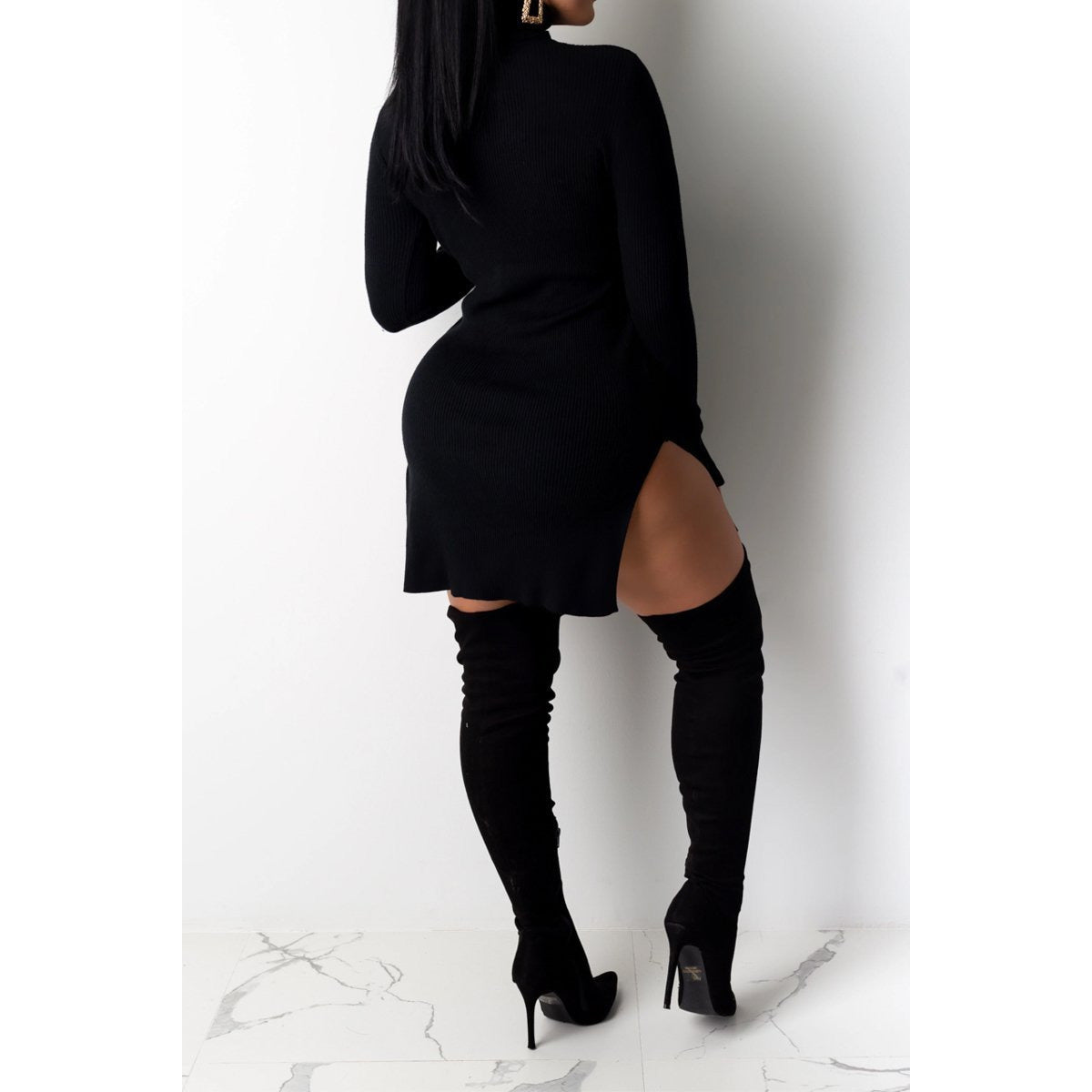 Eyes on Me Side Split Black Mini Dress