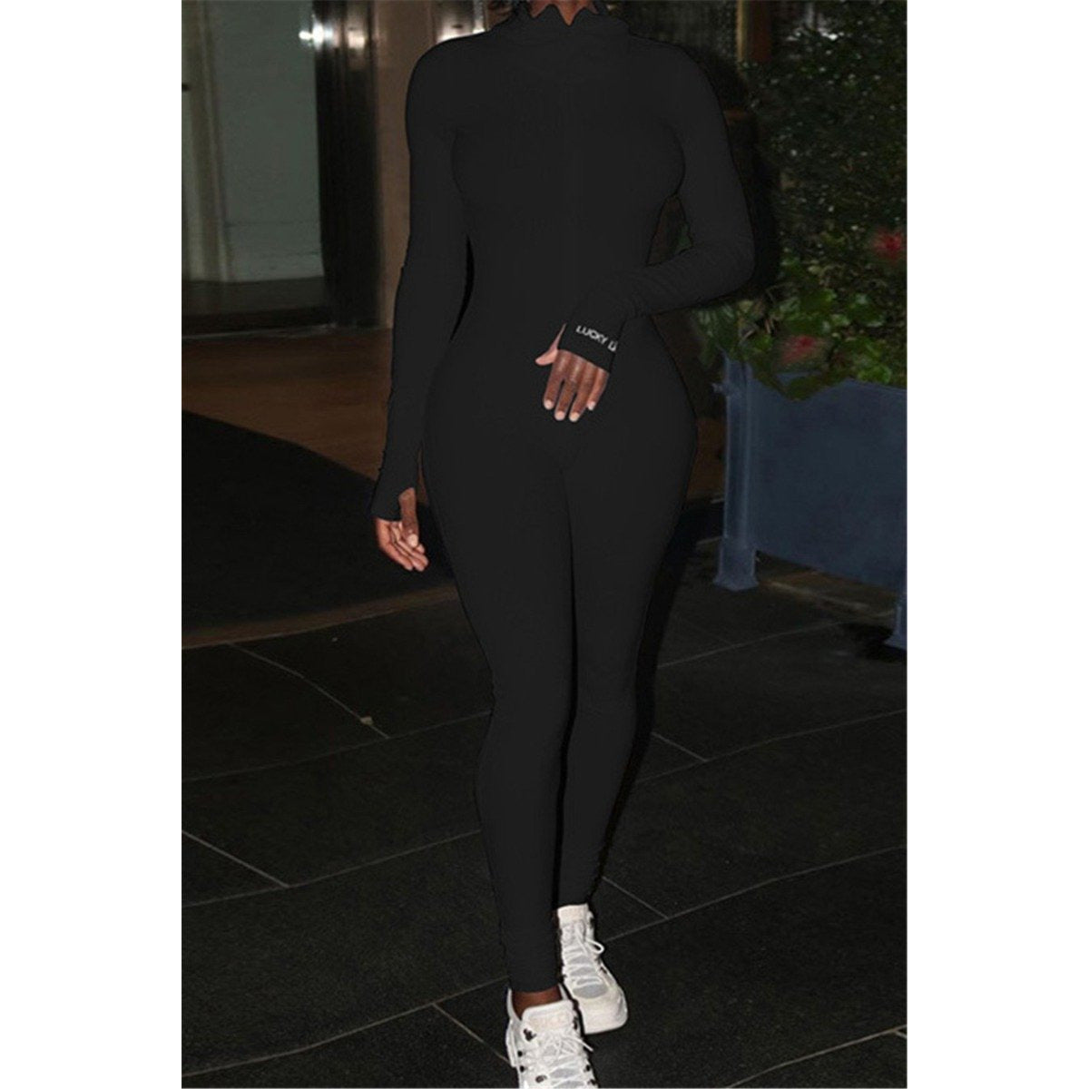 Liza High Neck Long Sleeve Jumpsuit