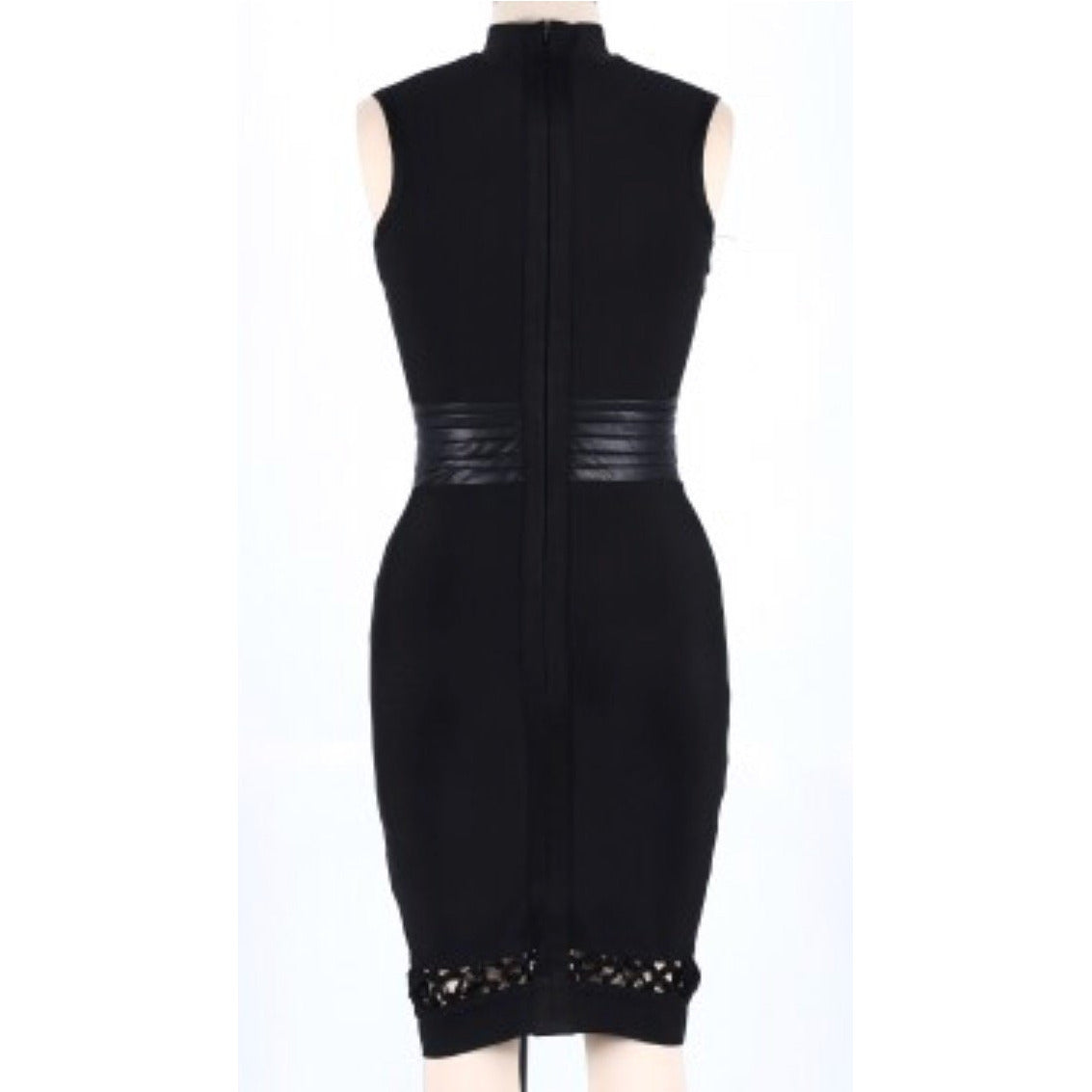 Black High Neck Sleeveless Cut Out Bandage Dress