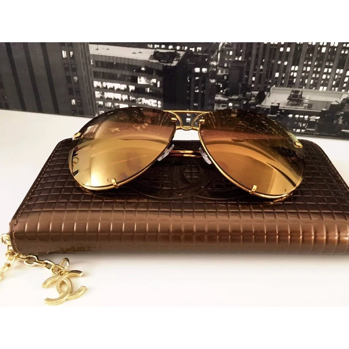 Oversized Gold Mirrored Posche Aviator Sunglasses