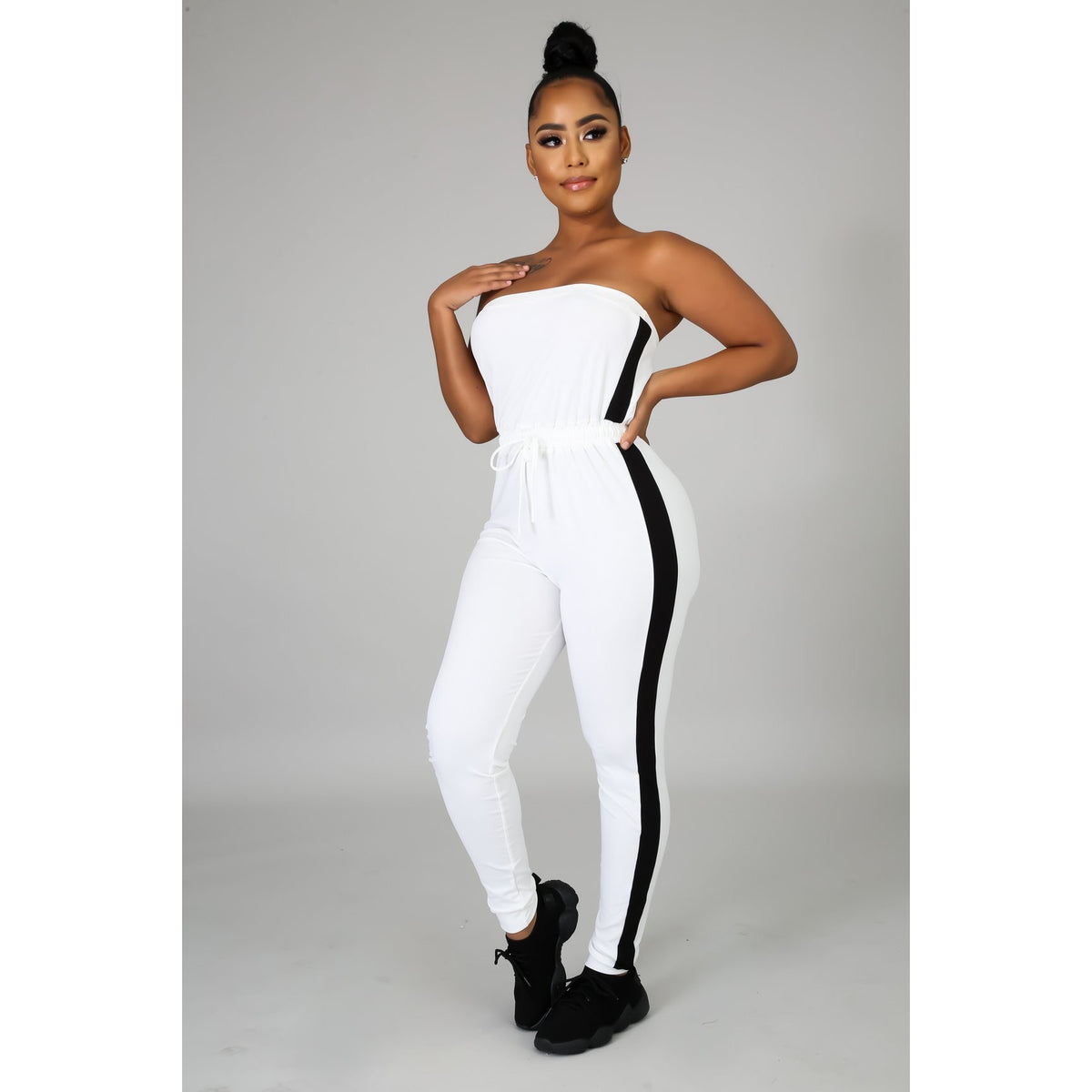 Side Stripe Tube Top Jumpsuit