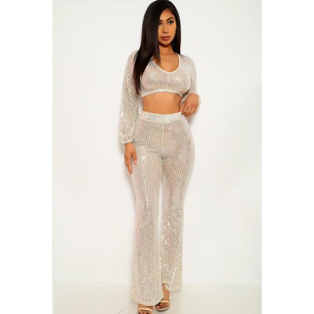 Tina Beige Silver Sequins Two Piece Outfit