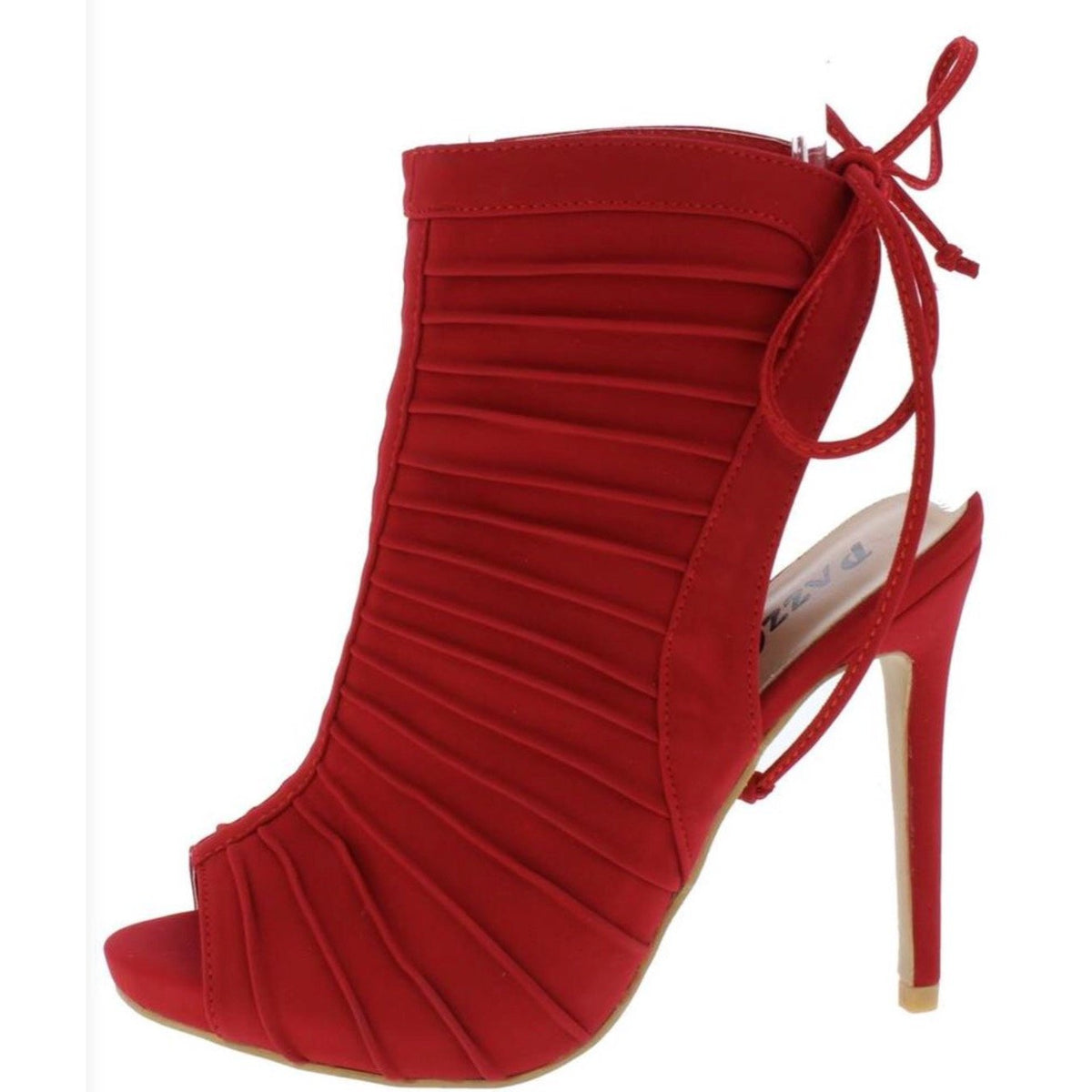 Red Rib Peep Toe Back Tie Heels Shoes
