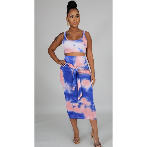 Blue Sky Tie Dye Skirt Set