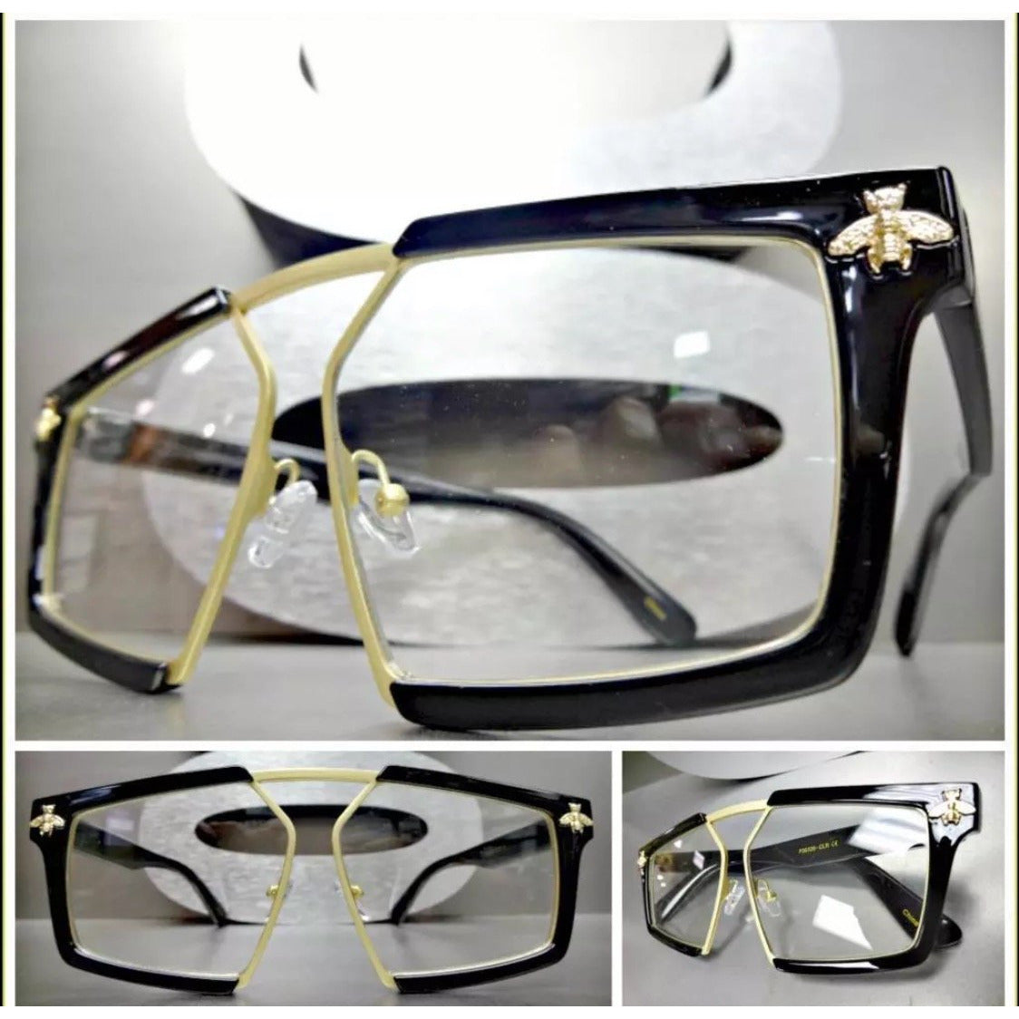 Black and Gold Bee Clear Lens Glasses