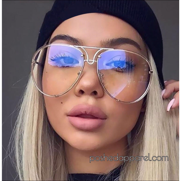 Oversize Clear Lens Vintage Aviator Sunglasses