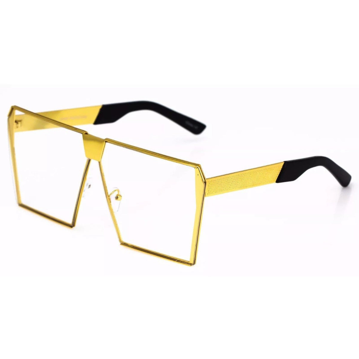 Flat Gold Tone Clear Lens Shield Eyeglass Sunglasses