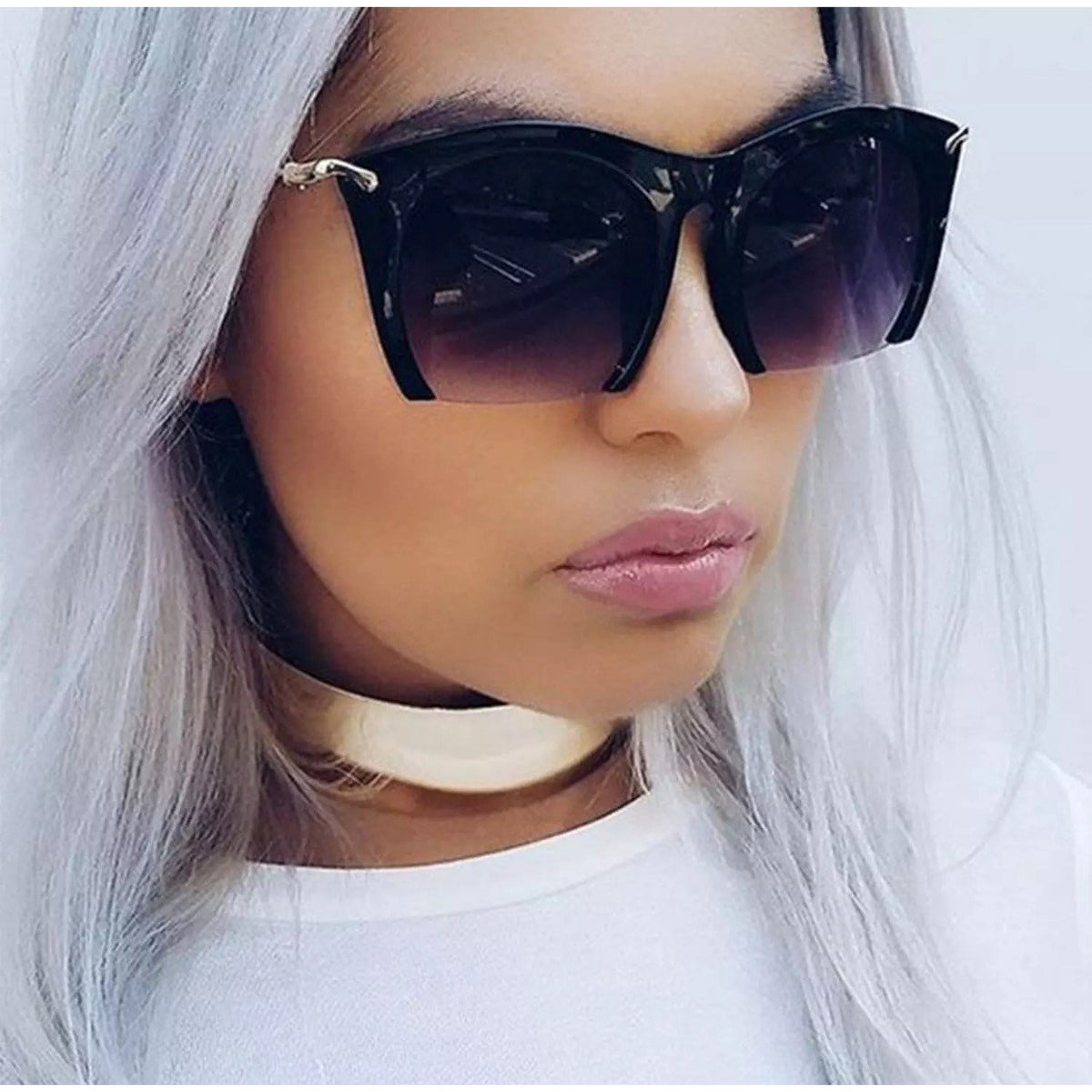Semi Rimless Metal Arm Sunglasses - Poshed Apparel - 1