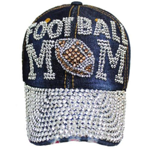 Rhinestone Denim Football MOM Hat Cap - Poshed Apparel - 1