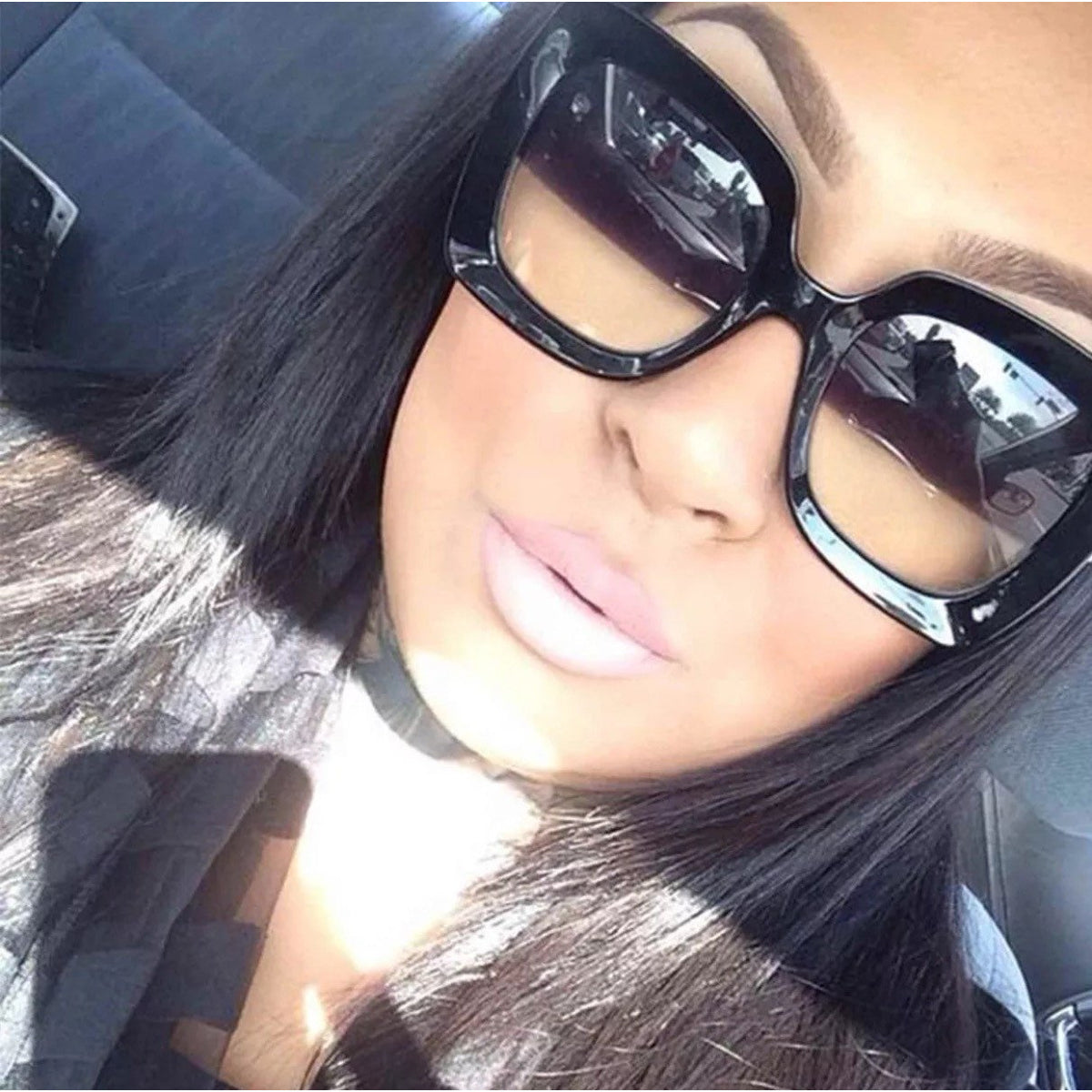 Thick Square Gradient Lens Sunglasses
