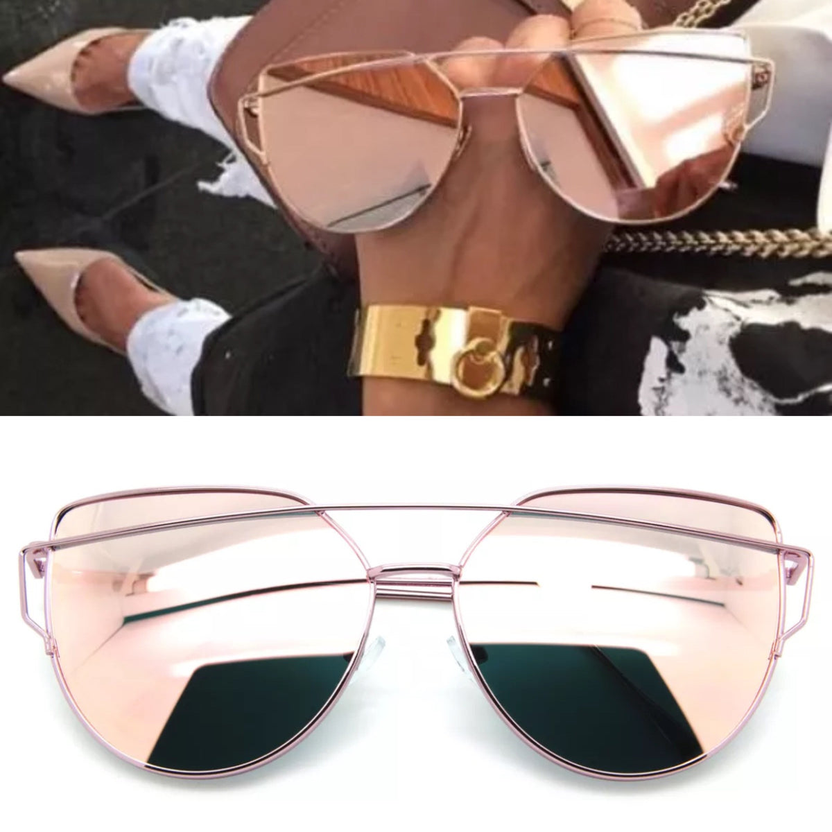 Pink Flat Lens Cross Bar Sunglasses