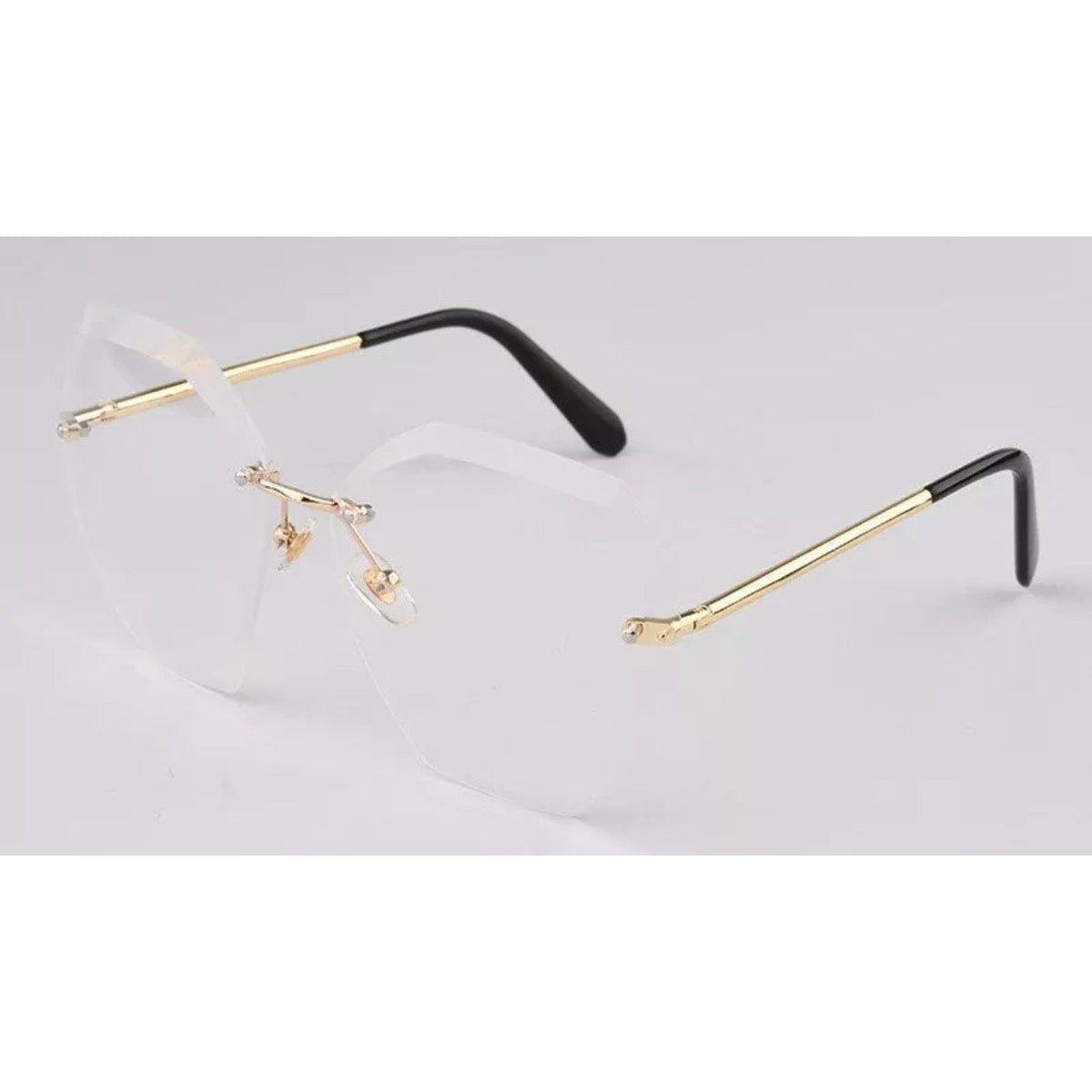 Rimless Hexagon Gold Frame Clear Lens Glasses Eyewear