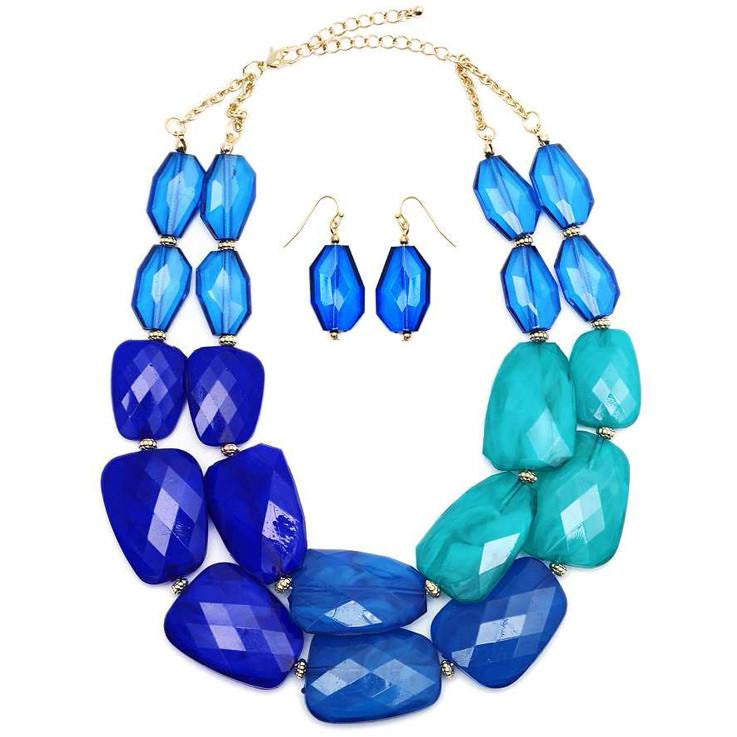 Faceted Cut Bead Double Strand Statement Necklace and Earring Set