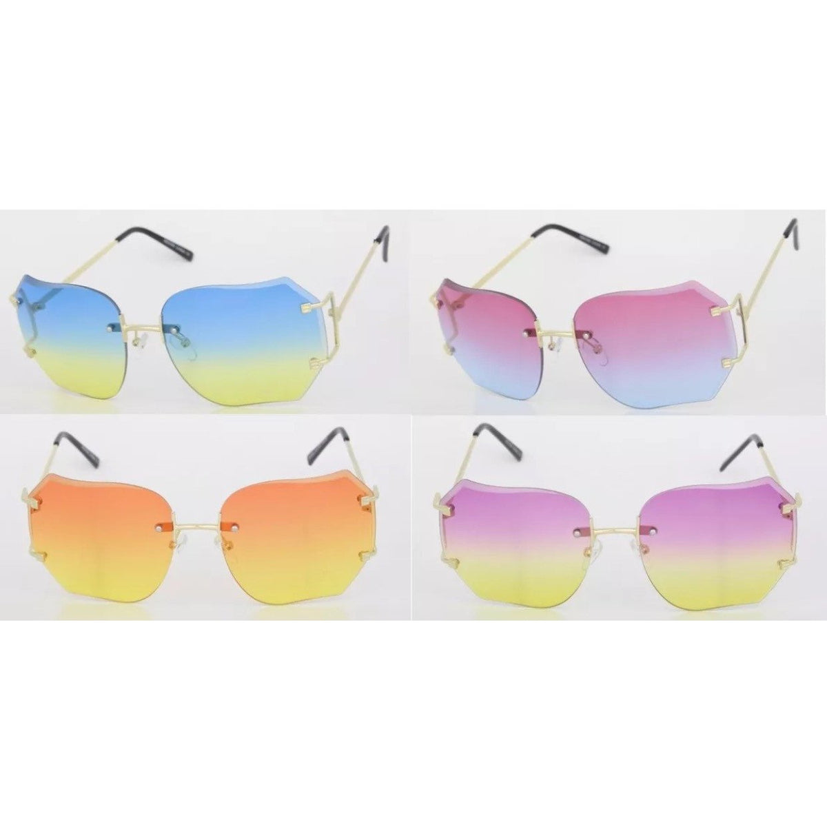 Oversize Rimless Gradient Colored Lens Sunglasses