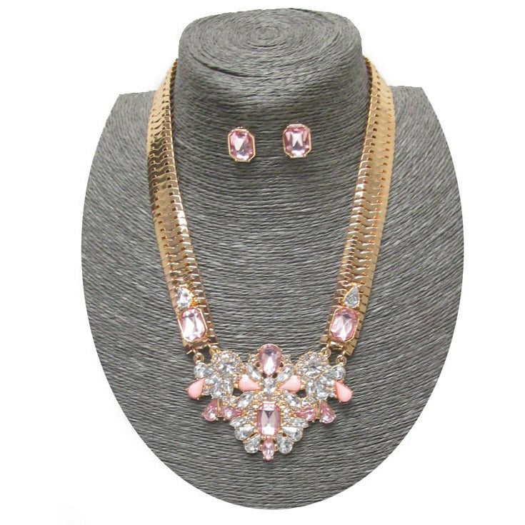 Flat Snake Chain Crystal Pendant Necklace Set - Poshed Apparel - 2