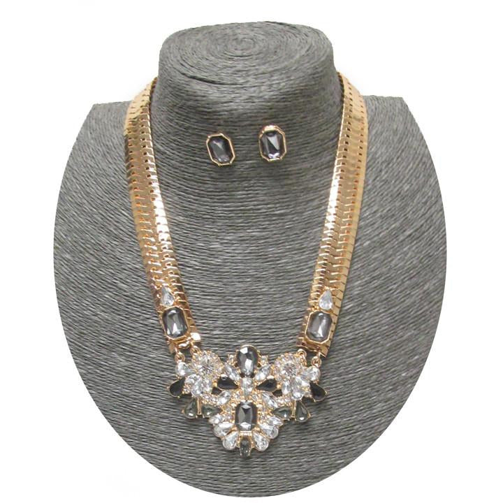 Flat Snake Chain Crystal Pendant Necklace Set - Poshed Apparel - 3