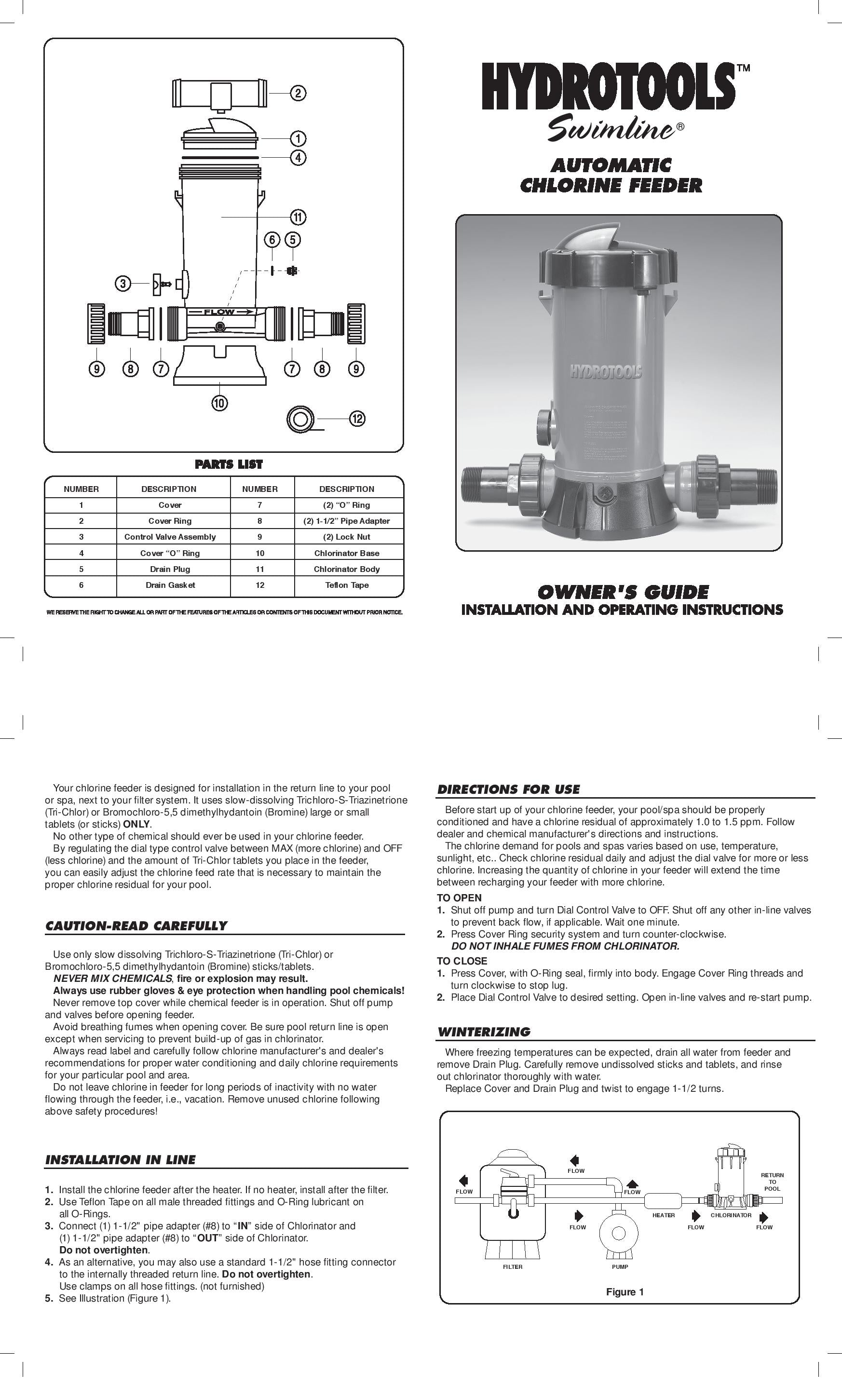Model 8750 Automatic Chlorine Feeder Product Manual