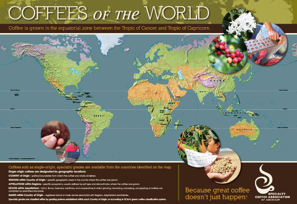 Coffees of the World Map