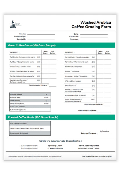 SCA Washed Arabica Coffee Grading Form
