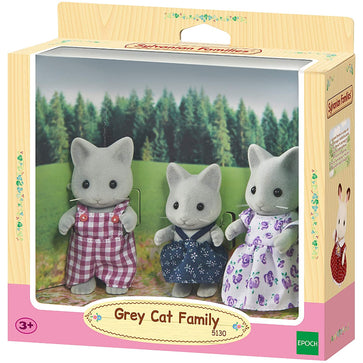Sylvanian Grey Cat Family