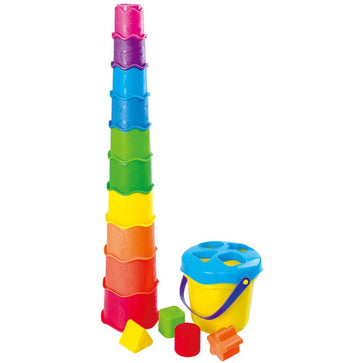 Playgo Rainbow Cups And Shapes Bucket