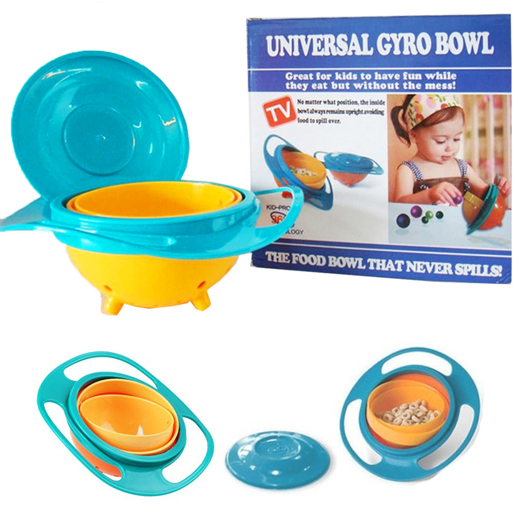 Anti-Spill 360° Rotate Gyro Bowl With Lid