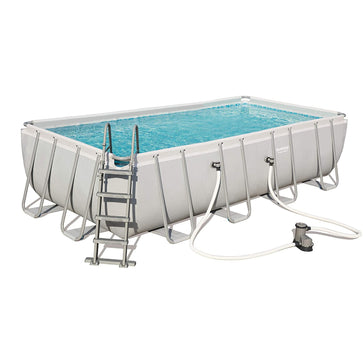 Bestway Power Steel Rectangle Frame Swimming Pool with Filter Pump, 18 ft