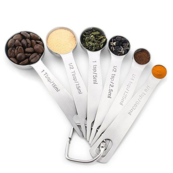 Stainless Steel Measuring Spoons ( Set Of 6 )-Chikili.com