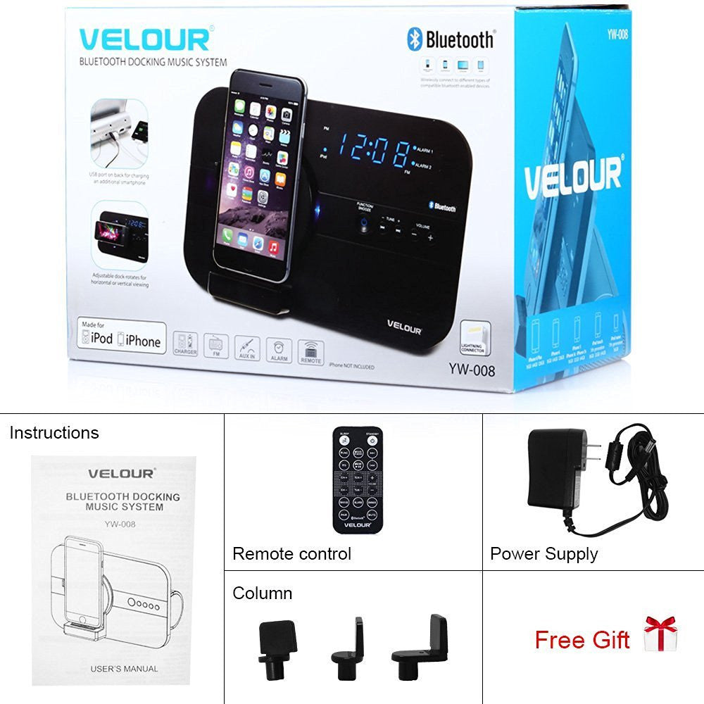 Velour Bluetooth Docking Music System for Apple - Chikili.com