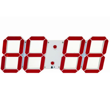 Digital Clock : White Base Red Digits