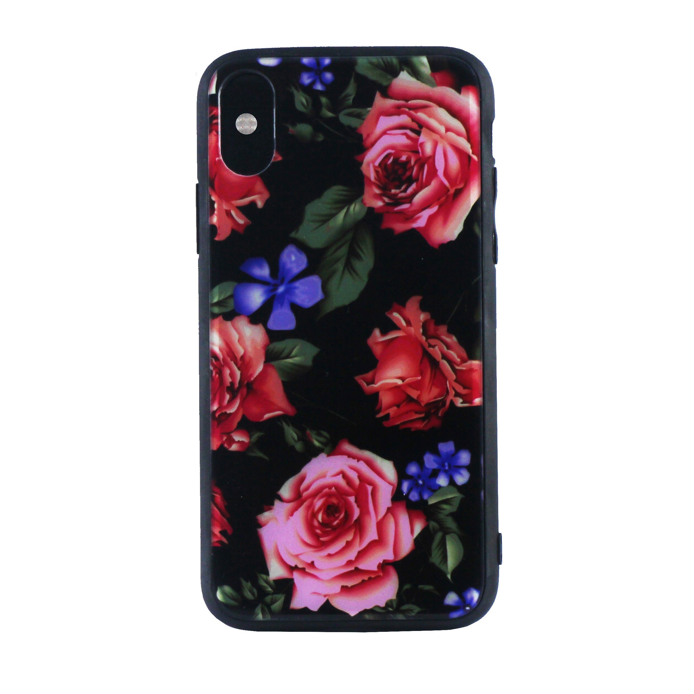 Tempered Glass Floral Case ( iPhone X )