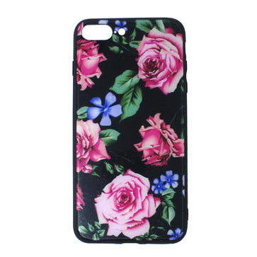Tempered Glass Floral Case ( iPhone 7 Plus)