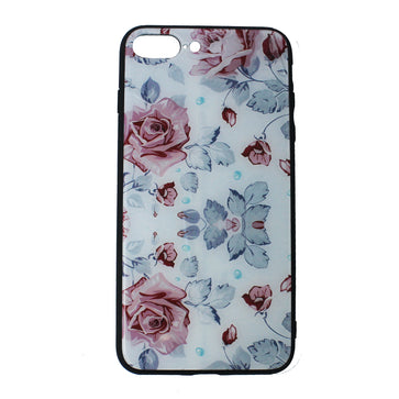 Floral Tempered Glass Case ( iPhone 7 Plus )