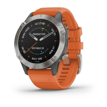 Garmin fēnix® 6 - Pro Sapphire - Titanium with Ember Orange Band 010-02158-13