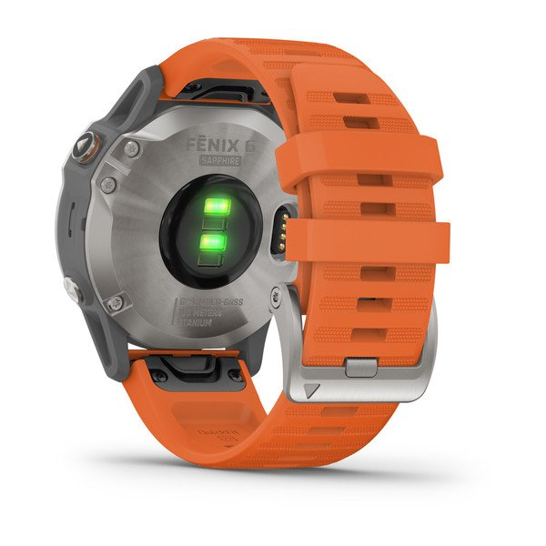 Garmin fēnix® 6 - Pro Sapphire - Titanium with Ember Orange Band 010-02158-14