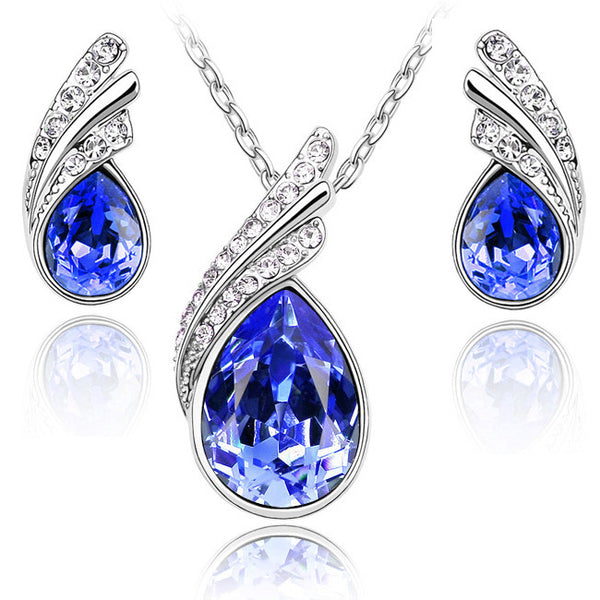Classic Crystal Water Drop Leaves Jewelry Sets