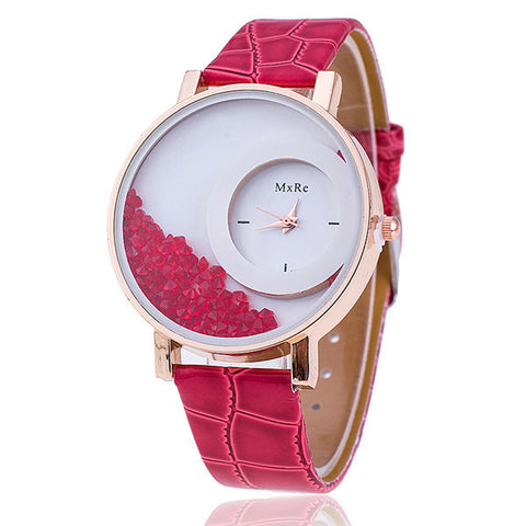 Fashion Rhinestone Leather Watch