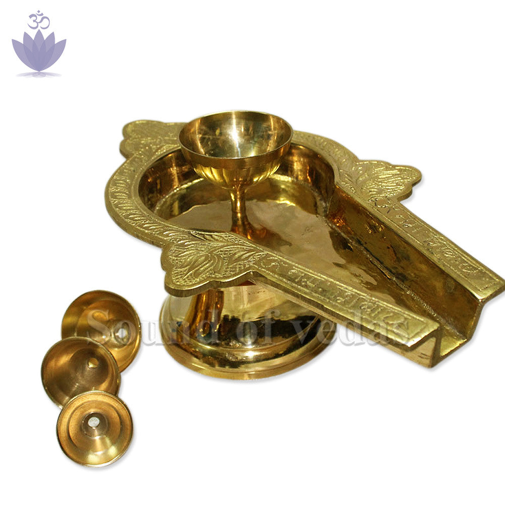 Black Narmada Shivling with Brass yonibase - 10 inch - SoundofVedas - 4