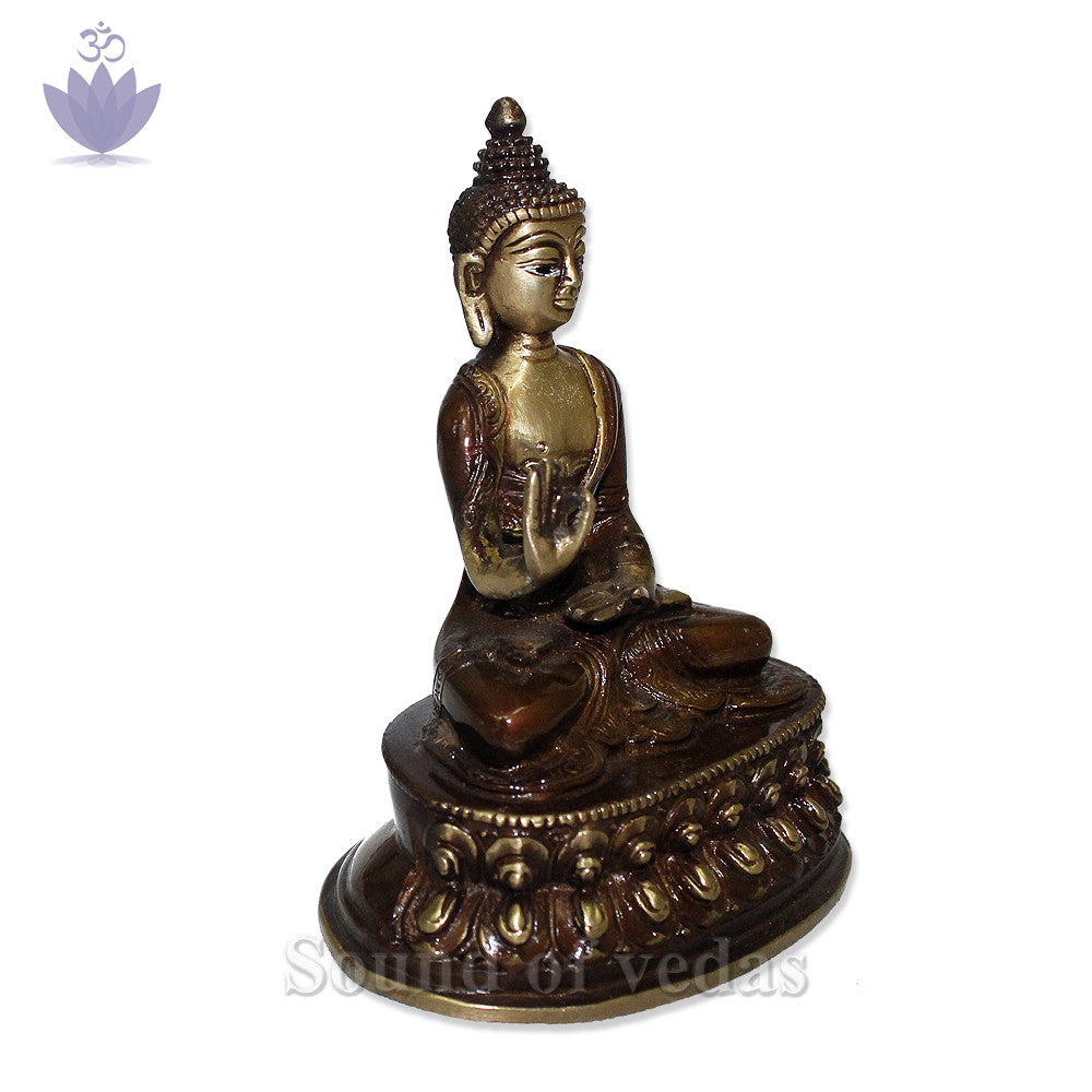 Buddha Statue with Antic Finish - SoundofVedas - 2
