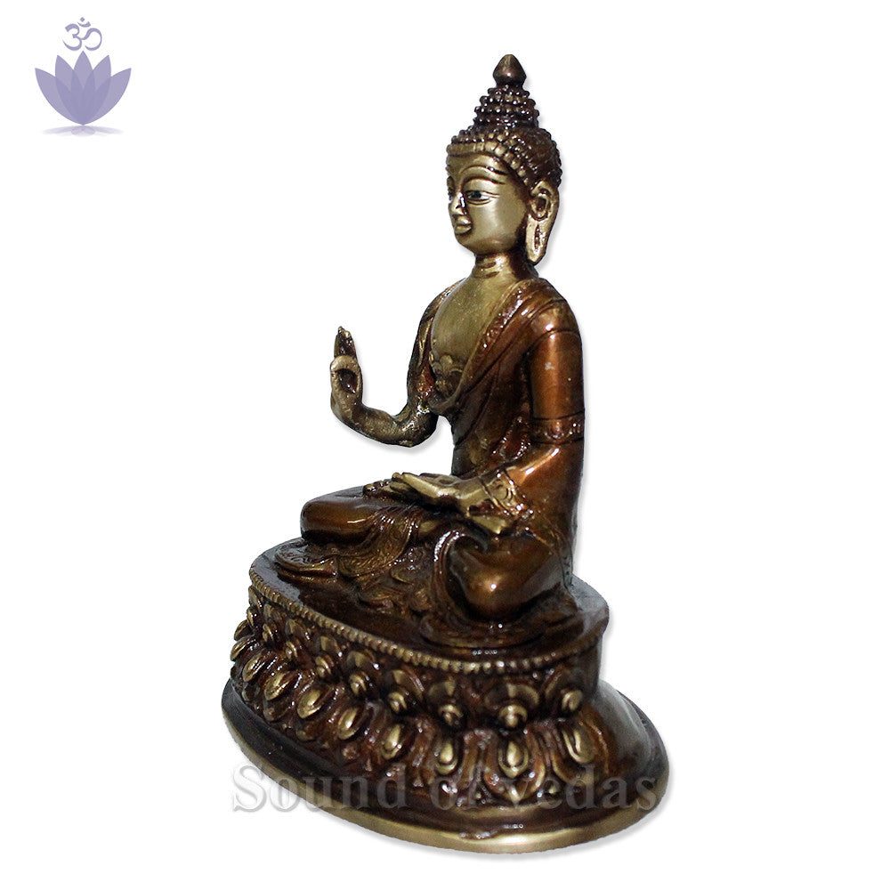 Buddha Statue with Antic Finish - SoundofVedas - 3