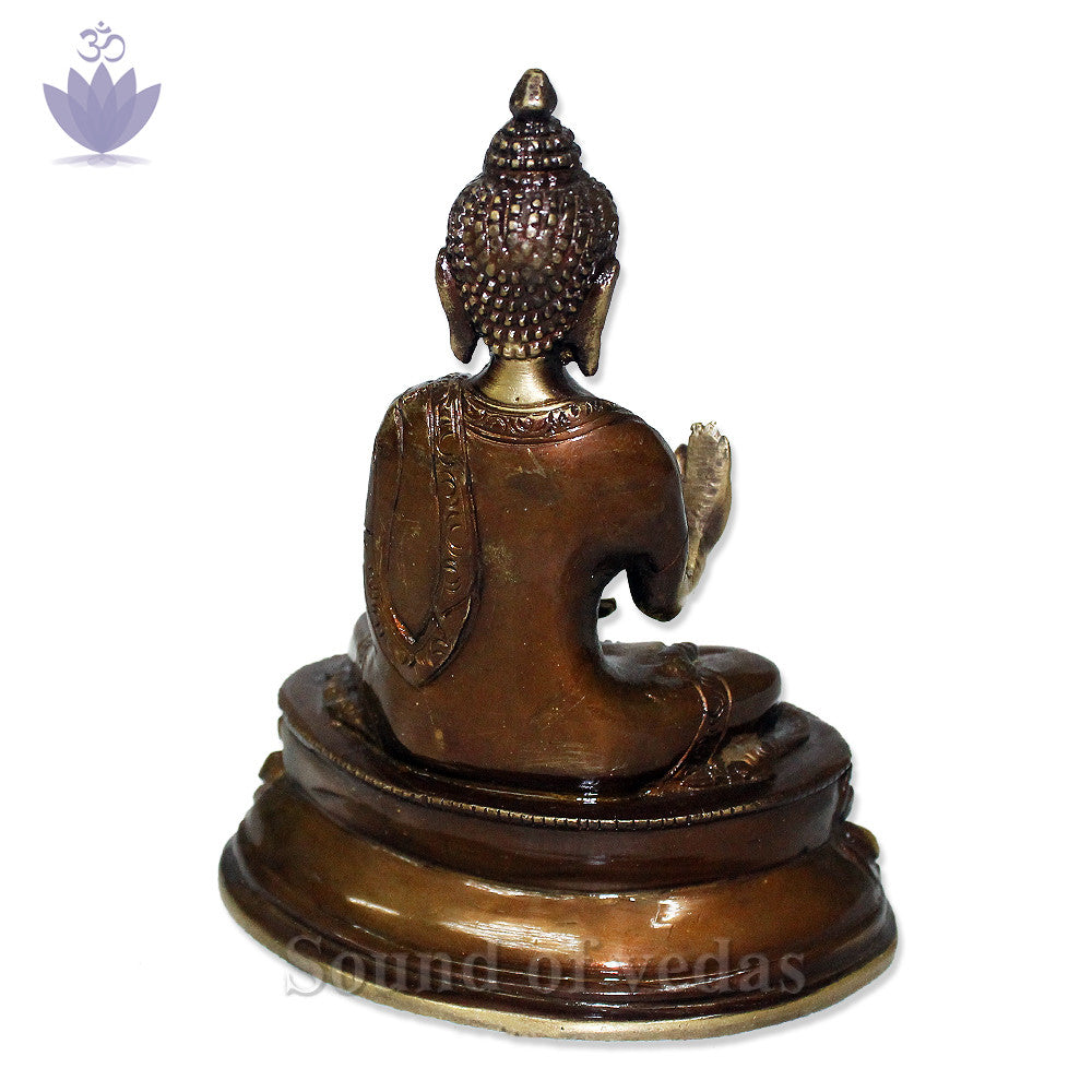 Buddha Statue with Antic Finish - SoundofVedas - 4