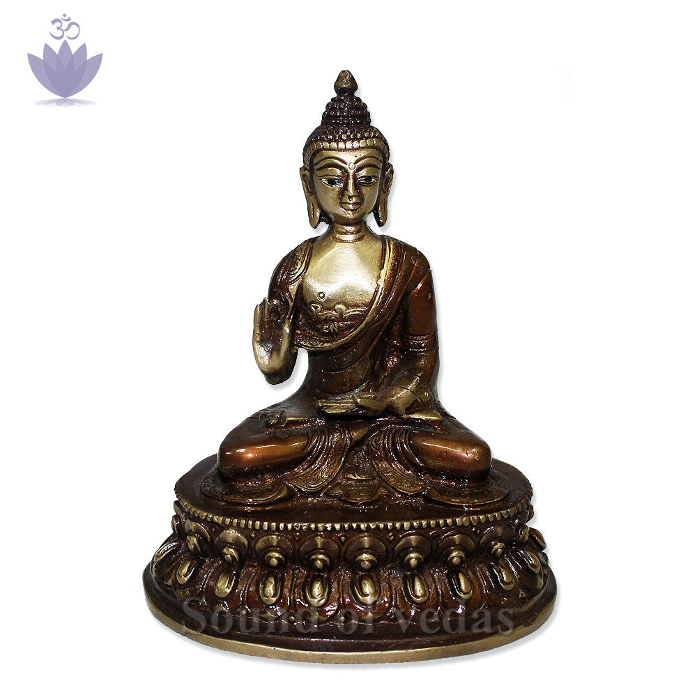 Buddha Statue with Antic Finish - SoundofVedas - 1