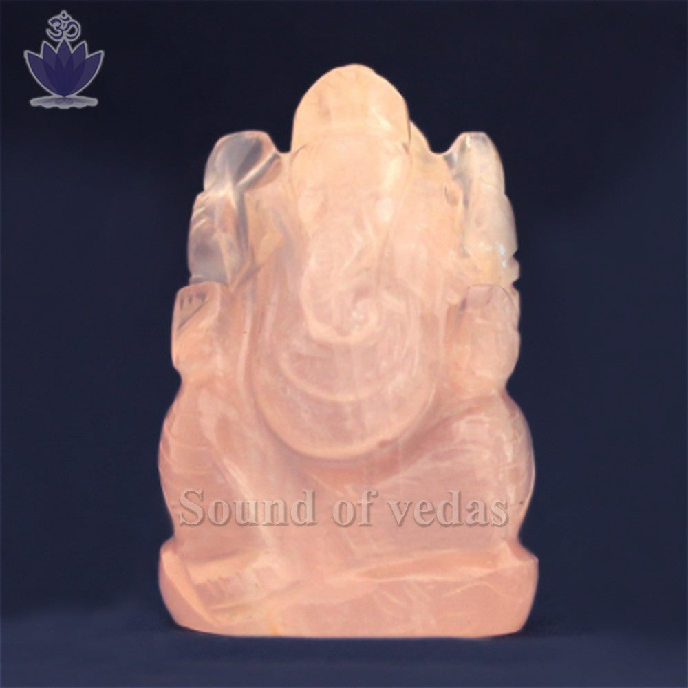Ganesh Gemstone Murti in Rose Quartz - SoundofVedas - 1