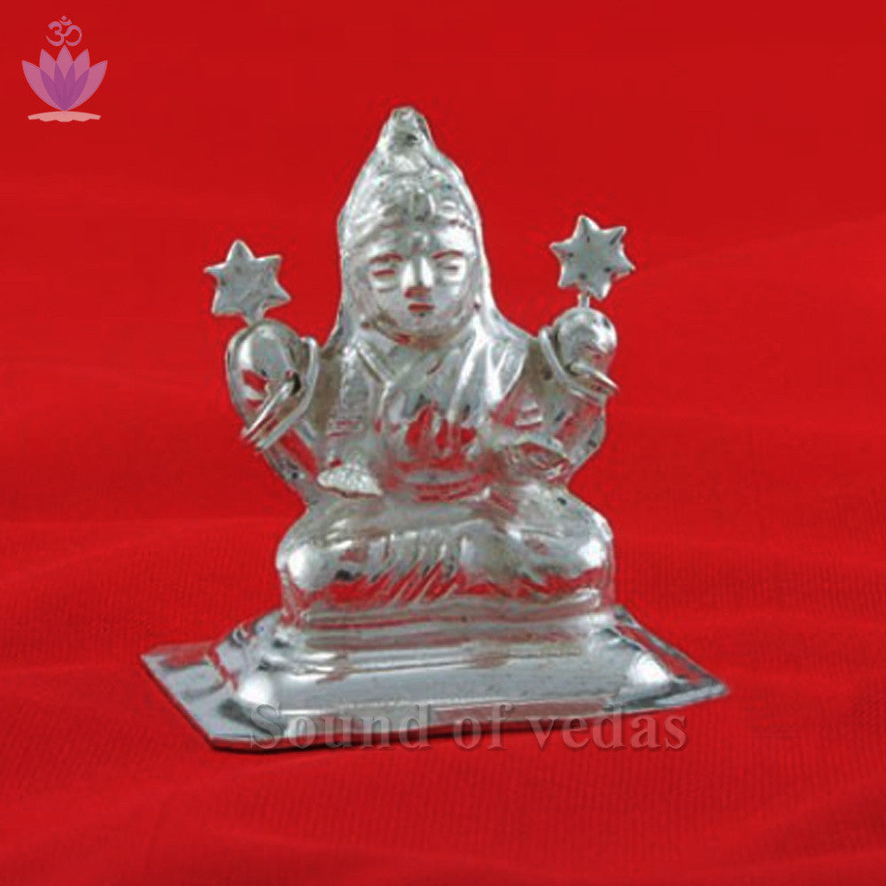 Mahalakshmi in german silver - SoundofVedas - 1