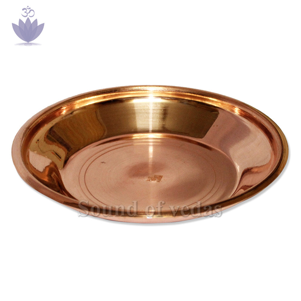 Puja plate in copper - 9 inches