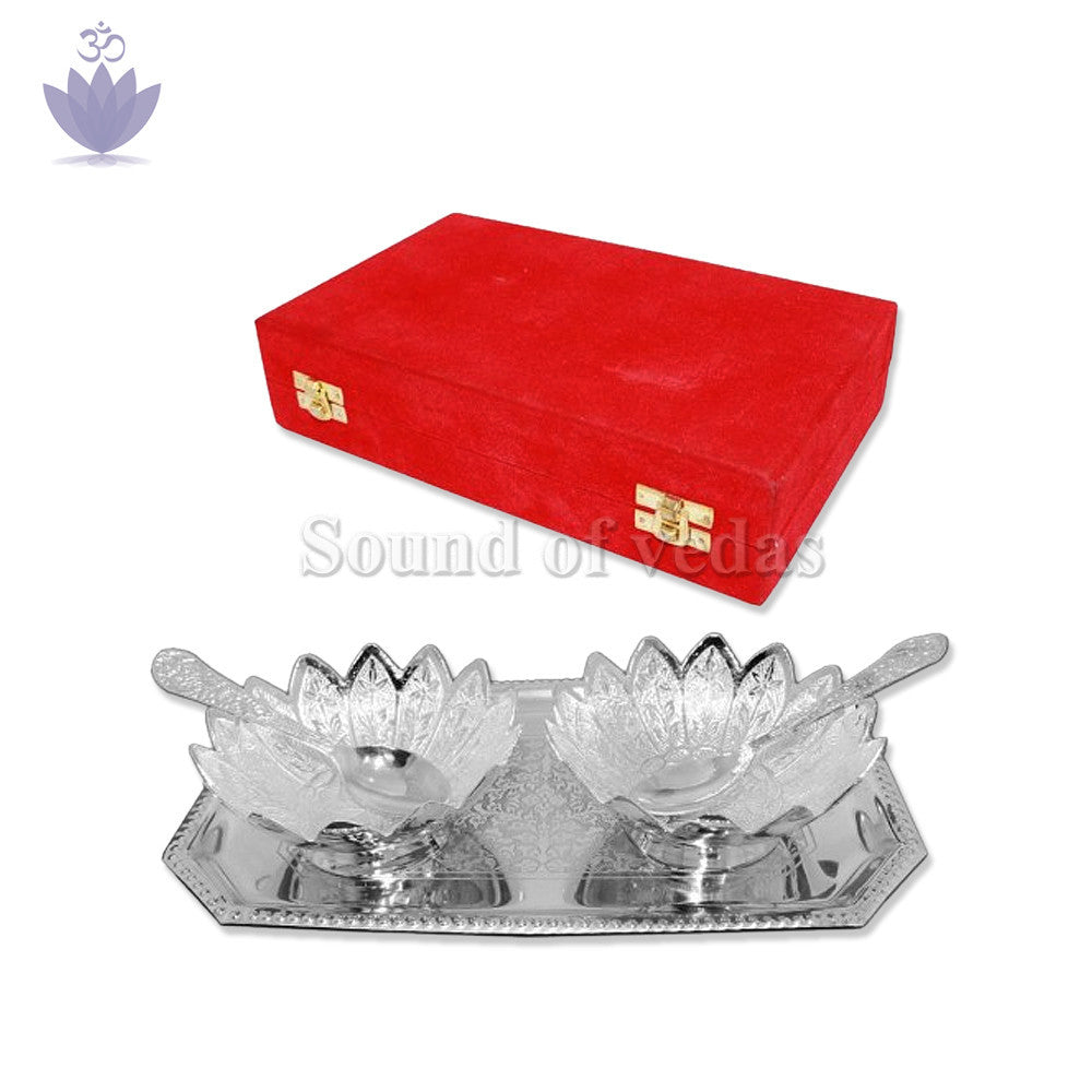 Puja Tray With Bowls & Spoons Set - SoundofVedas - 2